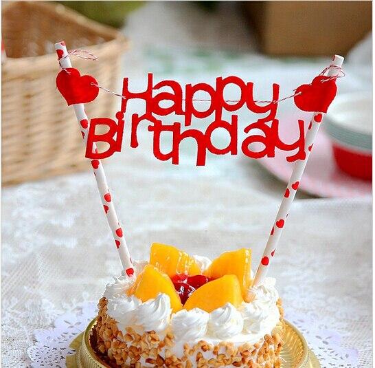 New Happy Birthday Cake Flag Cupcake Topper Baking Decoration Dessert Fruit Sticks Accessories Party Supplies