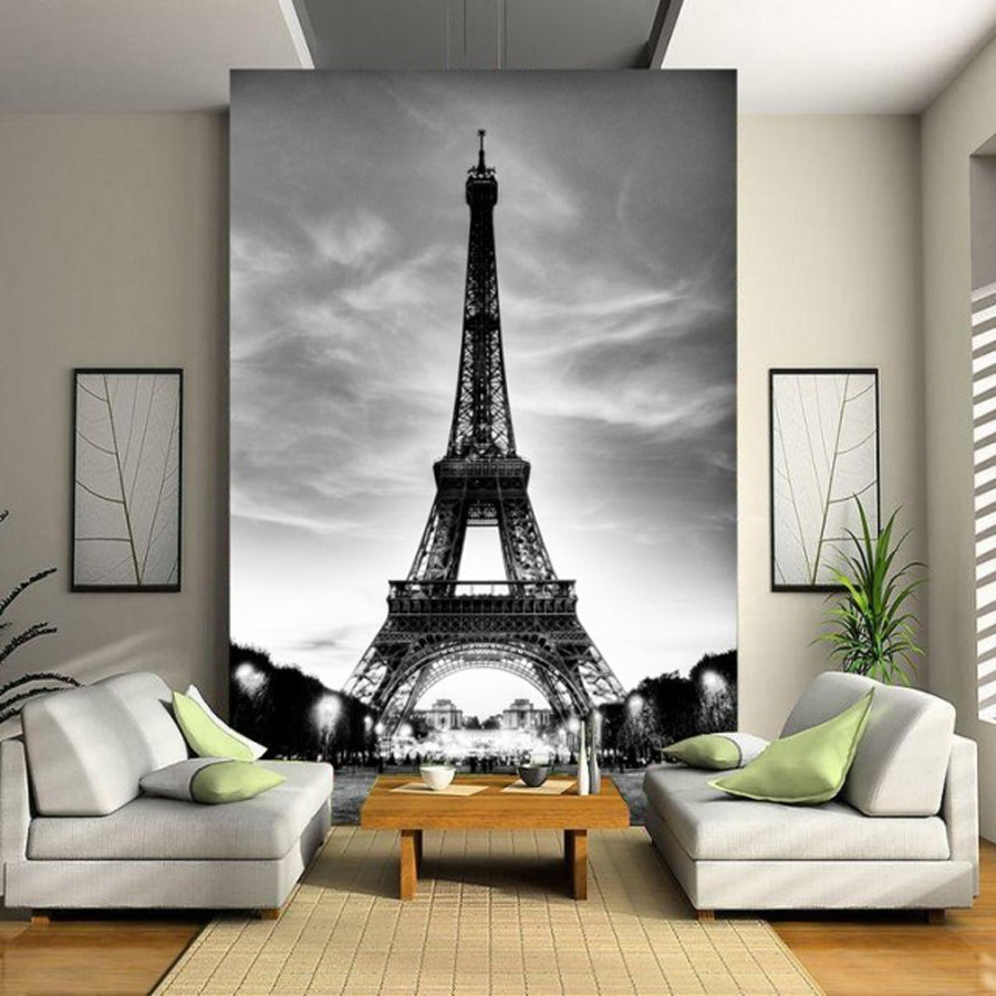 Papel Pintado Ciudades Glitter Wallpaper Black White City Building Paris Eiffel