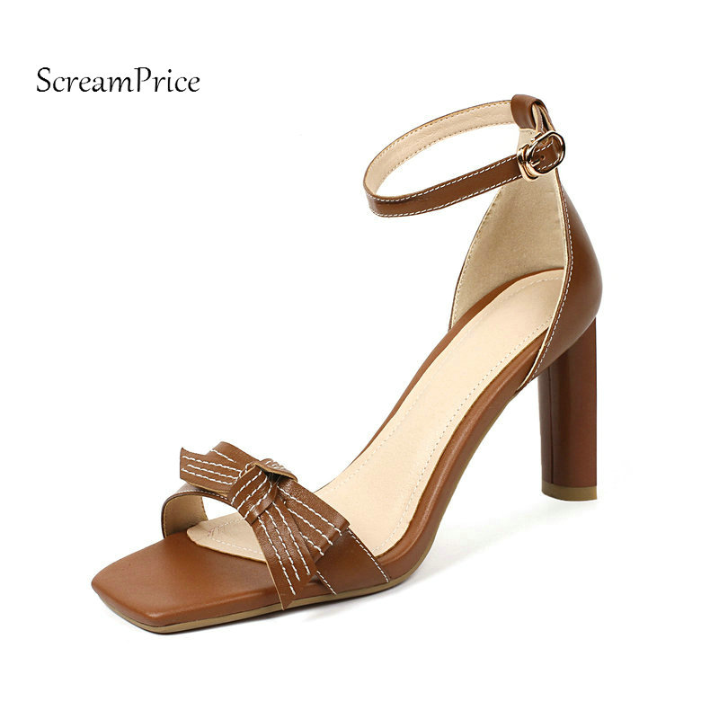 Summer Genuine Leather Square High Heel Open Toe Woman Sandals Fashion Bow Knot Dress Shoes Woman Brown Beige sandals new summer 2017 basic shoes woman open back strap sandal square heel fashion beige black 35 40 free shipping bassiriana