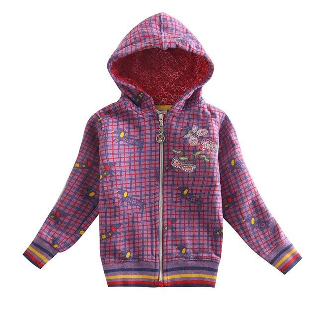 Девушка зимнее пальто куртку детей хлопка толстовки плед вышивка цветы молнии пальто для девочек дети зимой ветрозащитный F3292