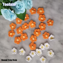 Small Handmade 3D Flower cotton crochet DIY Patch Iron On Patches Sewing Applique Badges stripe Sticker lace guipure cloth decor(China)