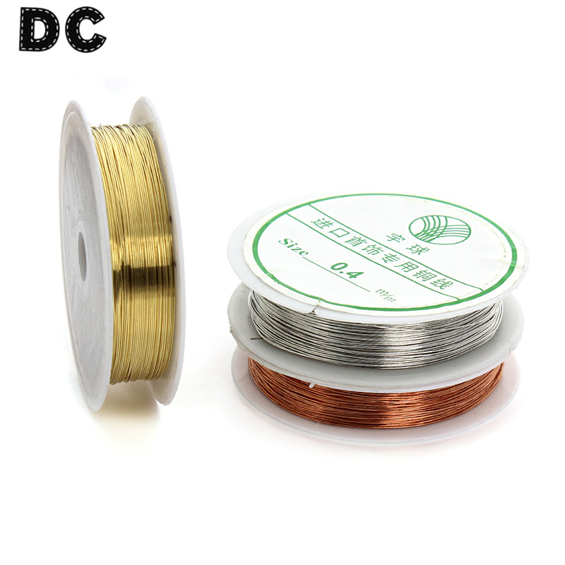 DC 15m/roll Red Copper/Rhodium/Gold Color Copper <font><b>Beading</b></font> Wires Cord <font><b>Thread</b></font> <font><b>0</b></font>.4mm for DIY Jewelry Making Findings Material F1622 image