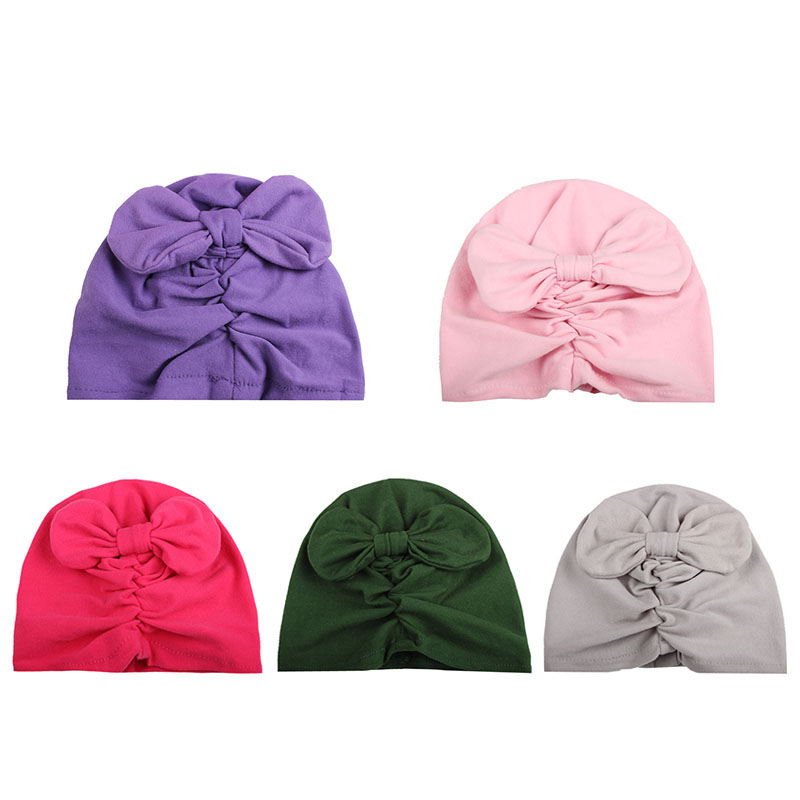 witner autumn baby beanies kids hats caps soft cotton solid color bowknot baby girls warm beanie baby accessories