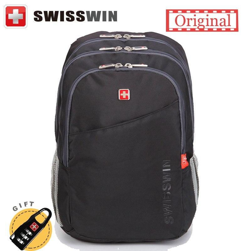 все цены на  Swiss Casual Backpack Male Cool Teenager Backpack For Boys Swiss Multi-Pocket Travel Bagpack Student Bag for Big Books Sac a dos  онлайн