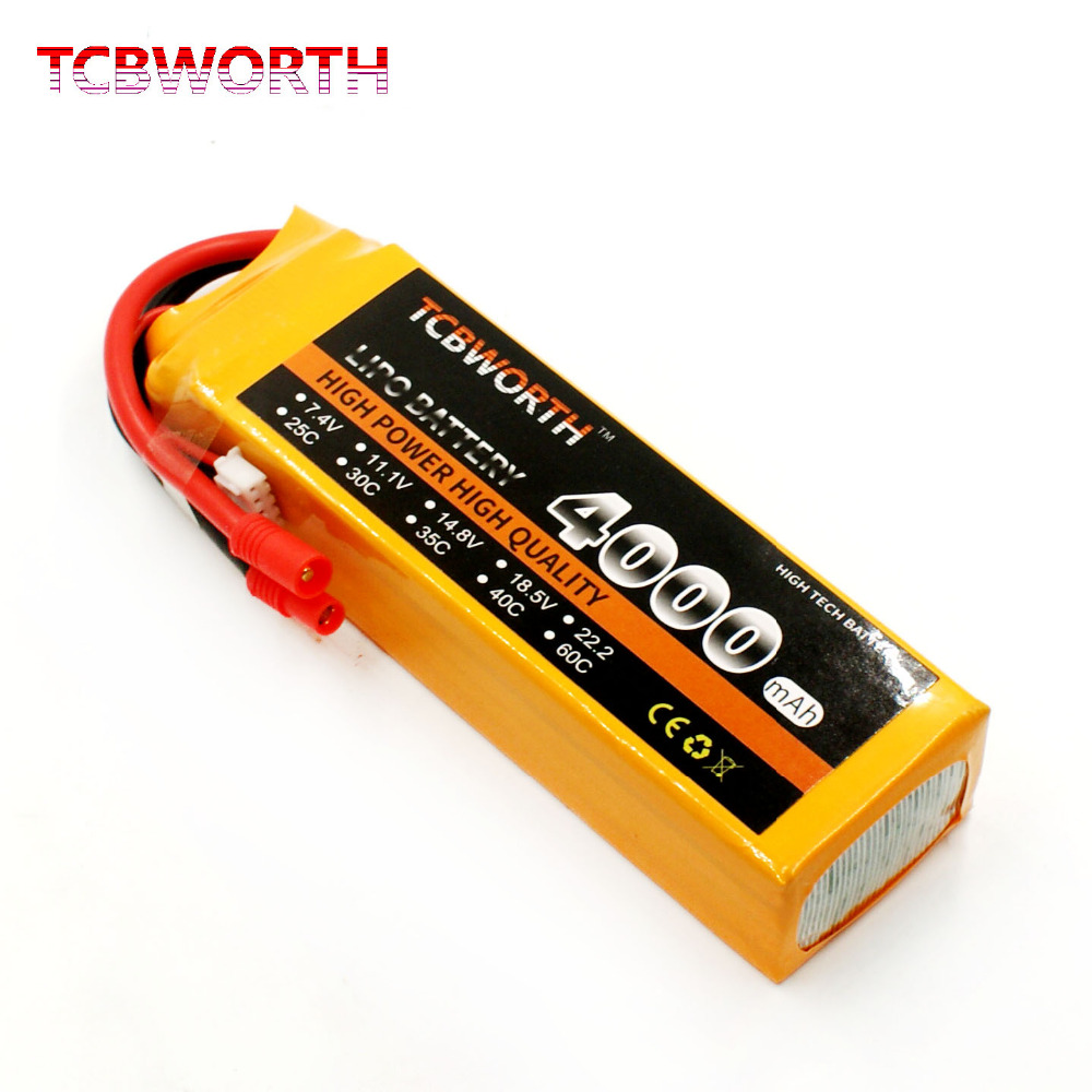 TCBWORTH RC Airplane LiPo battery 4S 14.8V 4000mAh 30C For RC Helicopter Quadrotor Car boat Drone Truck Li-ion battery tcbworth 11 1v 3300mah 60c 120c 3s rc lipo battery for rc airplane helicopter quadrotor drone car boat truck li ion battery