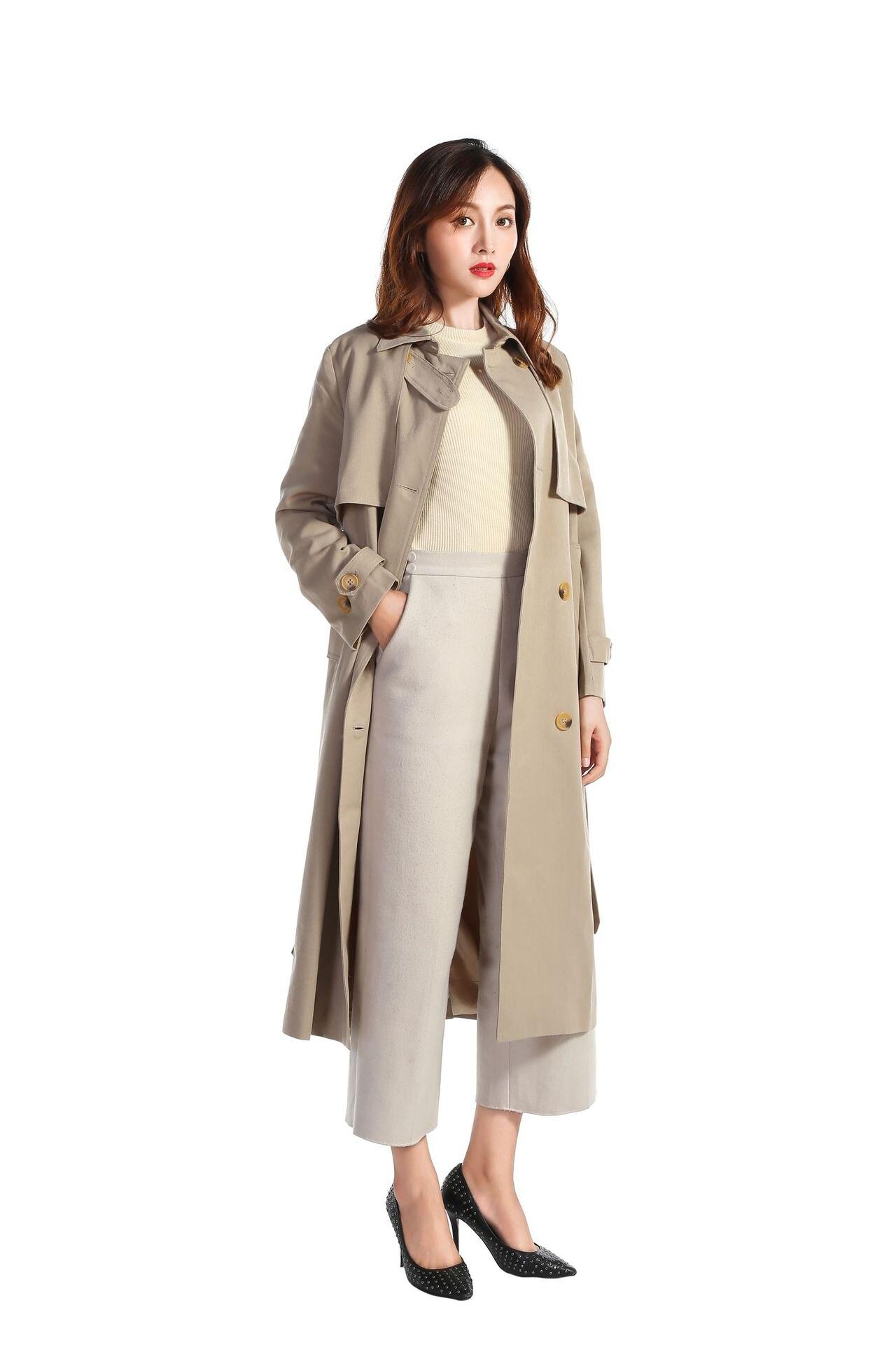 women's Windbreaker trench female clothing new autumn winter collar double row buckle women windbreaker long coat women