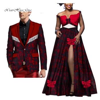2019 new arrival fashion style african cotton plus size couples suit women long dress and men print blazer 2 pieces WYQ284