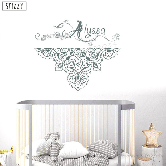 Stizzy Wall Decal Bohemian Mandala Flower S Name Sticker Nursery Art Personalized Custom Home Decor
