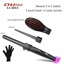 Wholesale Interchangeable Hair Curler  Hair Straightener Brush Ceramic Three Parts Electric Comb Hair Straightening LCD Straightening Iron