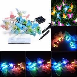 Olar power Butterfly String Lights 12 светодио дный LED наружный водостойкий садовый свет многоцветная Рождественская декоративная лампа Xmas Tree Decor