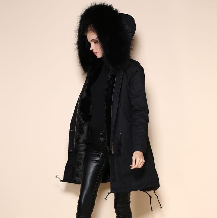 Модные парки из искусственного крутого черного меха, Женская нейтральная парка, зимние пальто с капюшоном из меха енота