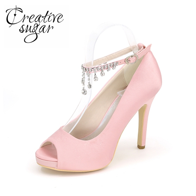 Creativesugar Lady rhinestone tassel ankle strap pink high heel shoes open  toe platform bridal wedding prom quinceanera ball 2ef500a6296a