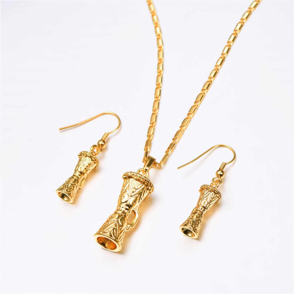 Желтое Золото Цвет KUNDU Подвеска Барабан Цепочки и ожерелья серьги, индийские украшения наборы для Для женщин Папуа-Новая Гвинея PE286