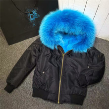 Good Quality Thick warm Sky blue Fox fur lining bomber jacket outwear real fur inside hooded