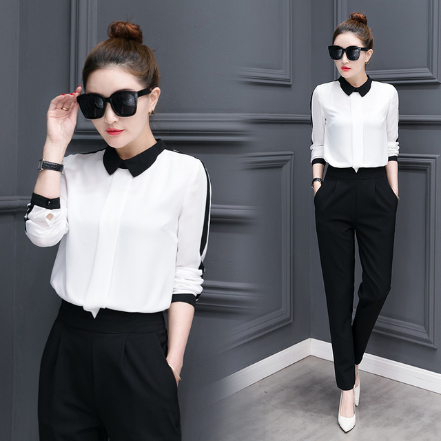 leisure korean fashion long-sleeved chiffon blouse pants 2 piece clothing  set new autumn outfit 2589780c5