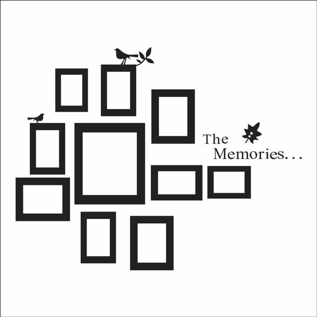 THE MEMORIES Photo Frame Bird Wall Sticker Vinyl Bedroom Living Room Removable Self-Sticking Sticker Mural