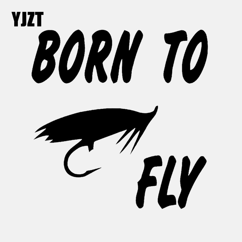 YJZT 14.5CM*14.7CM Vinyl Decal Car Sticker Funny Born To Fly Fish Fishing Black/Silver C24-0659