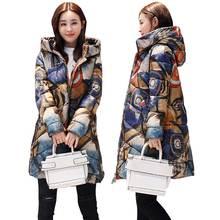 Jaqueta estampada de inverno plus size, casaco feminino de algodão, estampada, mais grosso, para mulheres, com capuz, parca longa, nova moda, casacos acolchoados, wz402