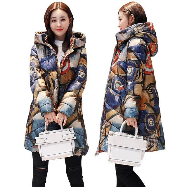 Printed Thicker Winter Down Cotton Jacket  Women Ukraine Hooded Female Plus size Parka Long Coat new fashion padded Coats WZ402