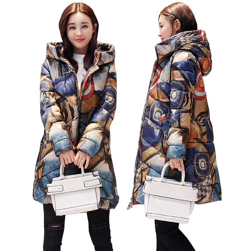 Printed Thicker Winter Down Cotton Jacket Women Ukraine Hooded Female Plus size   Parka   Long Coat new fashion padded Coats WZ402