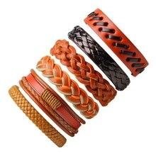 6 шт старинный кожаный браслет мужской набор многослойный Плетеный браслет и браслеты обертывание браслет на шнурке панк мужская повязка на руку ювелирные изделия