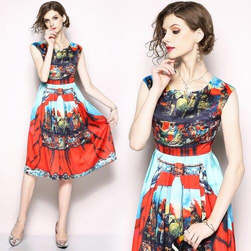 0d4d45246 Cheap Primavera Europa versión de moda exquisita impreso vestido de las  mujeres 2019 nuevo estilo verano