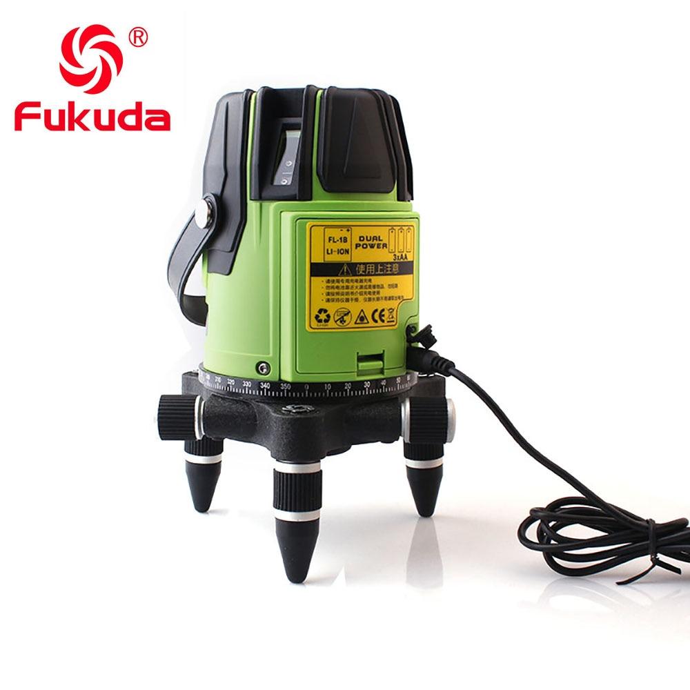3D лазерный уровень метр 5 линий 360 градусов наливный мини портативный инструмент зеленый лазерный луч пыли брызг FUKUDA