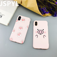 JSPYL Pink Pig Soft Back Cover Case For iPhone 7 7Plus 8 8Plus 6 6s Plus Celular Coque Silicone Cute Case For iPhoen X Fundas