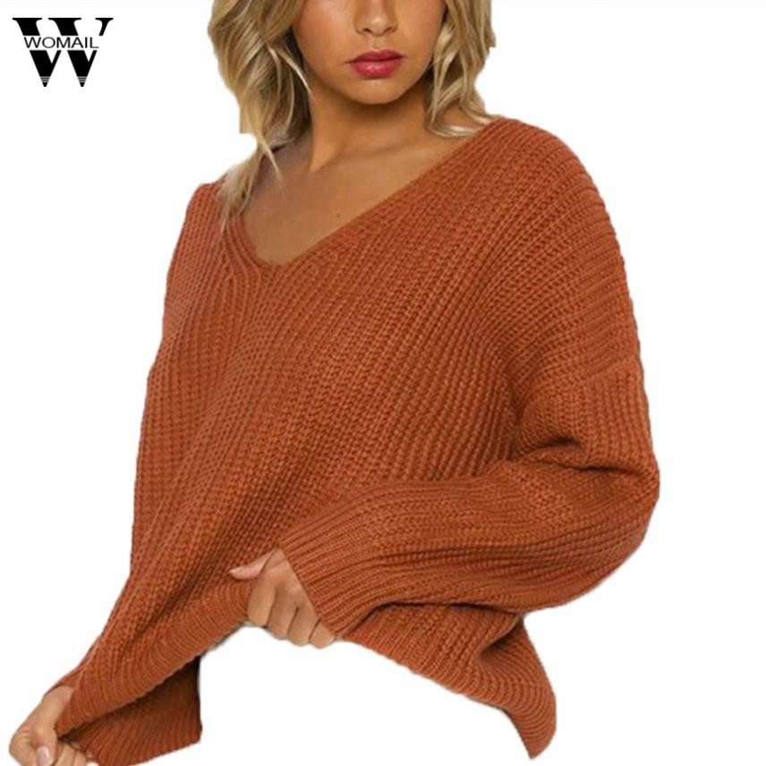 Womail Frauen Casual Langarm-strickpullover Backless Verband Pullover Tops Bluse se5