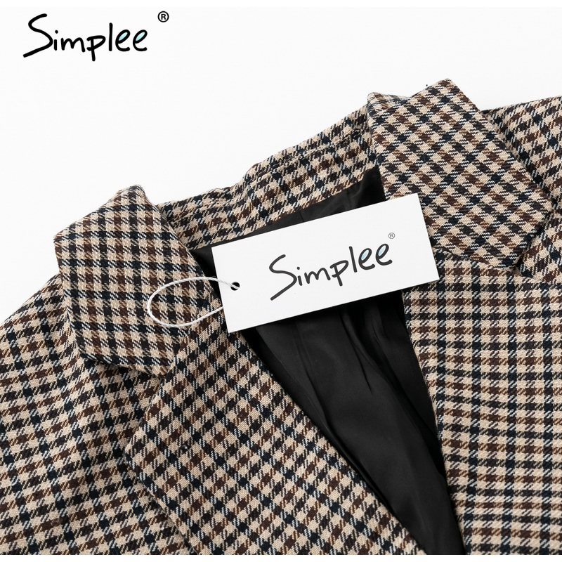 Simplee Fashion double breasted plaid blazer Female long sleeve office ladies blazer 18 Autumn jacket women outerwear coats 15