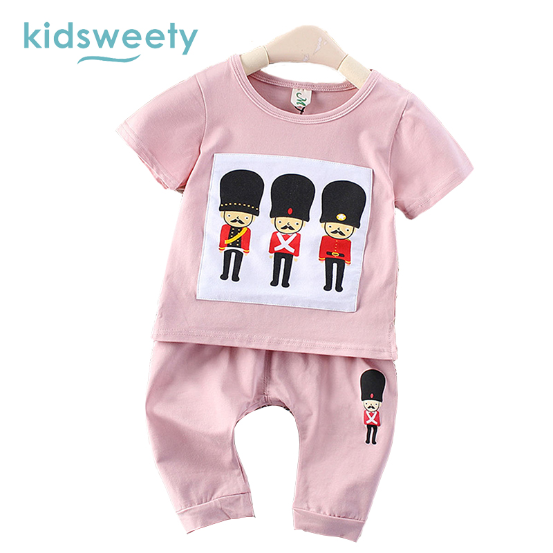 Kidsweety Kids Sets Summer Cotton Unisex T Shirt Pants Suits Boys Shorts Pullover Cartoon Lovely Girls