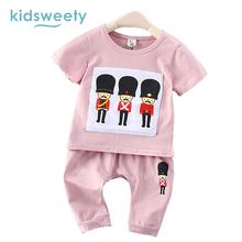 Kidsweety Kids Sets Summer Cotton Unisex T-Shirt Pants Suits Boys Shorts Pullover Cartoon Lovely Girls Twinset Casual Kids Sets