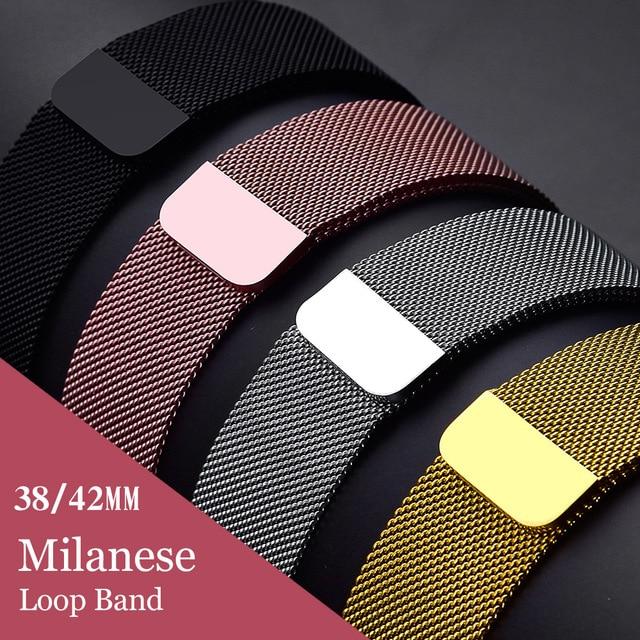 Миланский сетчатый ремешок для Apple Watch ремешок 42 мм/38 мм iwatch4/3/2/1 Нержавеющаясталь ссылка браслет наручные часы магнитная застежка