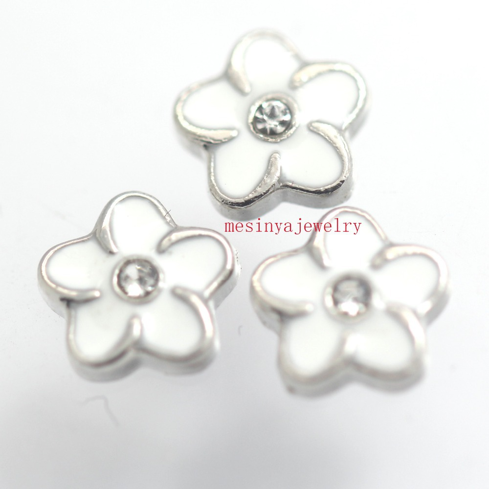 Best Quality 10pcs white flower floating charms for glass locket FC-974, Min amount $15 per order mixed items