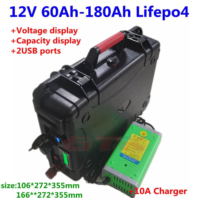 Waterproof 12V 60Ah 80Ah 100Ah 120Ah 130Ah 150Ah 180Ah Lifepo4 battery with BMS for trolling motor solar system+10A Charger