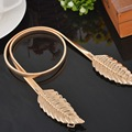 LASPERAL Women Metal Belts Golden Color Silver Tone Leaf Shaped Elastic Chain Wasitbands Belt For Women Accessories