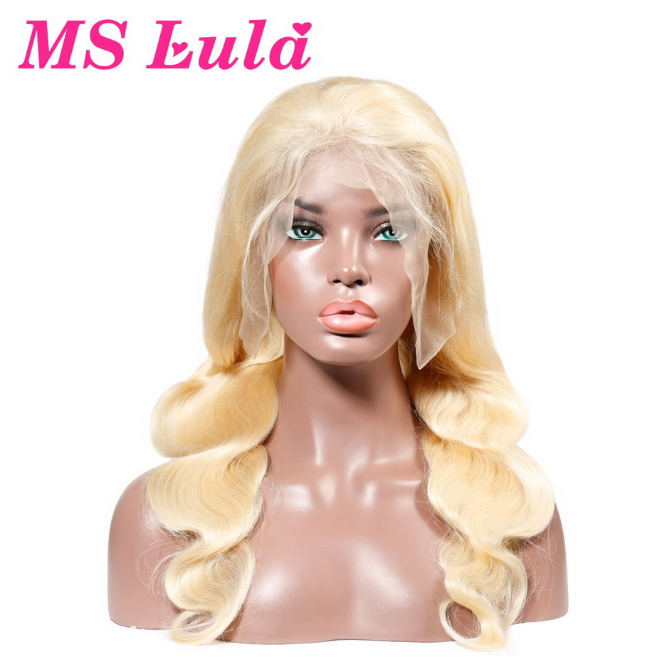 MS Lula Brazilian Blonde 613 Body wave Wig Lace Front Human Hair Wigs Medium Size with