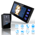 "SUNLUXY 7"" TFT Door Phone Video Intercom with Fingerprint Touch Button 1 Monitor & Camera Doorbell Kit 1000TVL IR Night Vision"