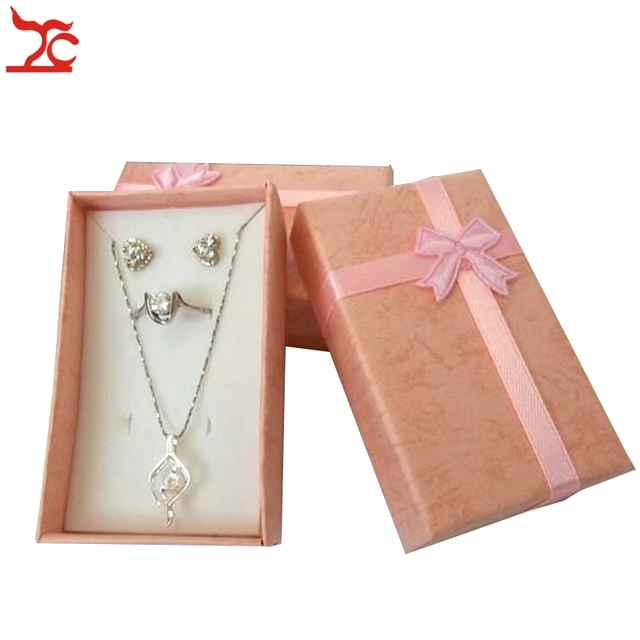 Pink Jewelry Box 16Pcs Paper Gift Boxes with Sponge Jewelry Set Ring