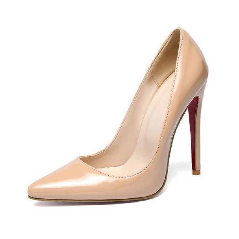 12cm Pumps Red High Heels Brand Pu Patent Leather Women Pumps Sexy Pointed Toe Stiletto High Heels Wedding Bridal Shoes US 13