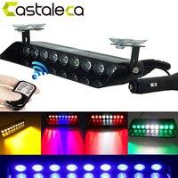 Castaleca Remote Control 9LED Strobe Flash Emergency Warning Light For Police Remodel Led Flashing Lamp White