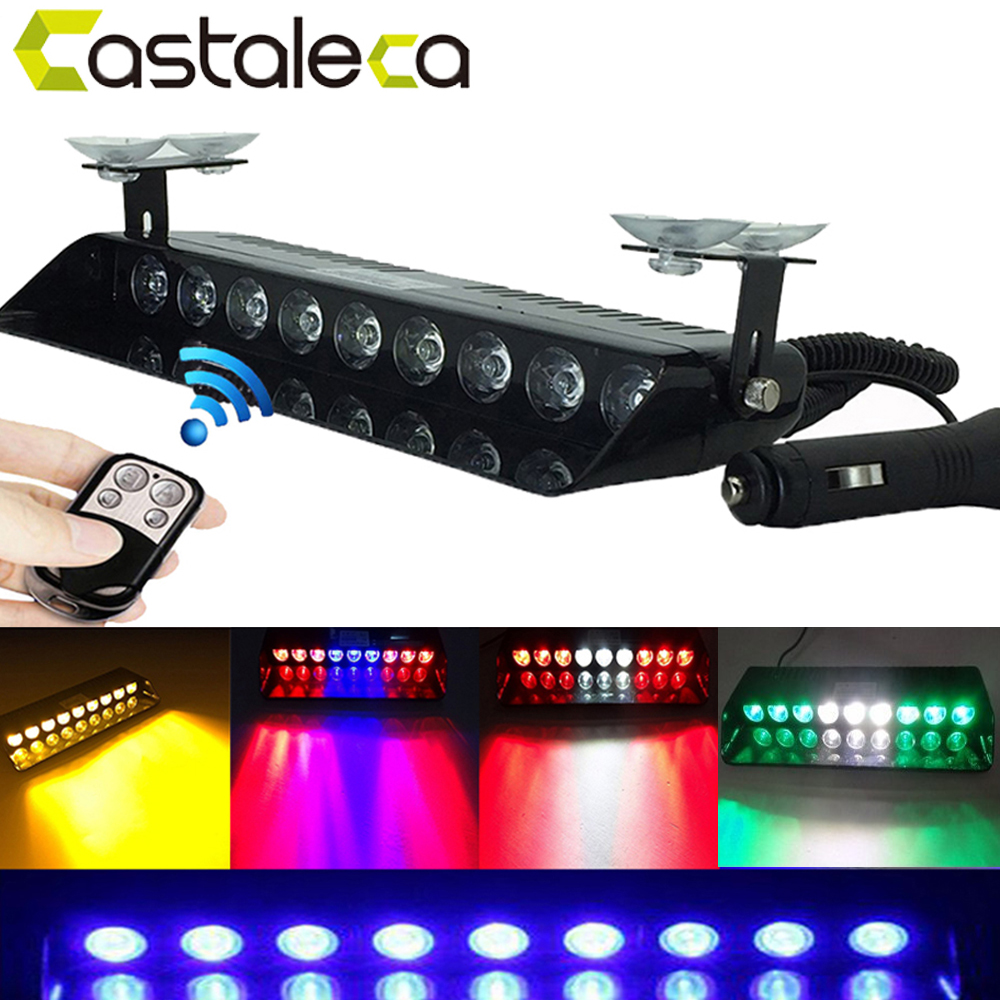 Castaleca remote control 9LED Strobe Flash Emergency Warning light for Police remodel led Flashing lamp white red yellow blue