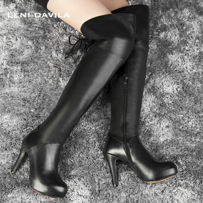 LENI DAVILA 2017 Women's Full Grain Leather over the knee boots fashion Thin Heels winter platform Riding boots for women thin heels full grain leather over the knee boots sapatos femininos pointed toe fashion boots ladies shoes woman