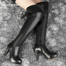 LENI DAVILA 2017 Women's Full Grain Leather over the knee boots trend Thin Heels winter platform Riding boots for ladies