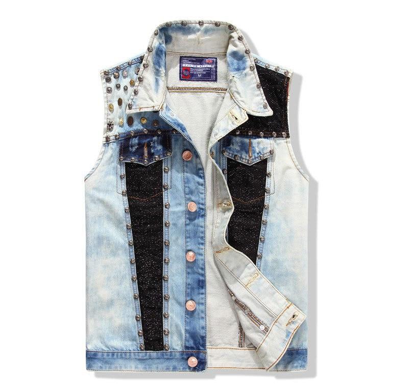 Rivet washed denim vest men jean waistcoat brand coat men for Mens sleeveless denim shirt wholesale
