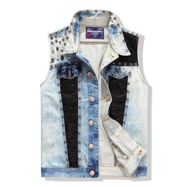 Rivet Washed Denim Vest Men Jean Waistcoat Brand Coat Men'ss Patchwork Cowboy Man Sleeveless Jacket Clothing Maison Scotch L-XXL