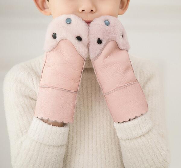 Cartoon-Glove Lining Sheepskin Warm Autumn Winter Children's Fur Thicken R572 Fleece