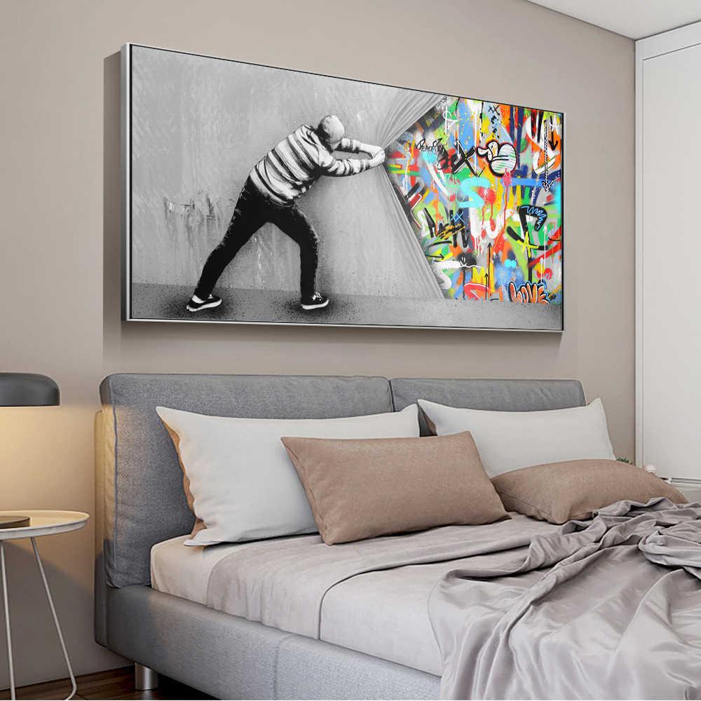 Граффити художественные настенные картины для гостиной за занавеской уличные художественные полотна картины на стену плакаты и принты Quadro