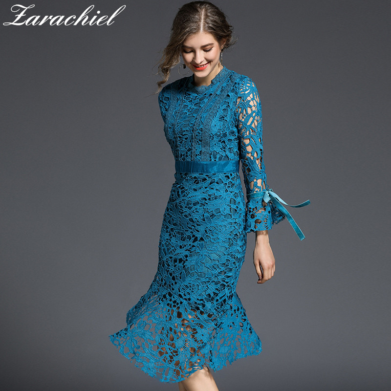 e45cf056c2 Brand Women Blue Water Soluble Lace Dress 2019 Spring Ladies Long Flare  Sleeve Hollow Out Asymmetric