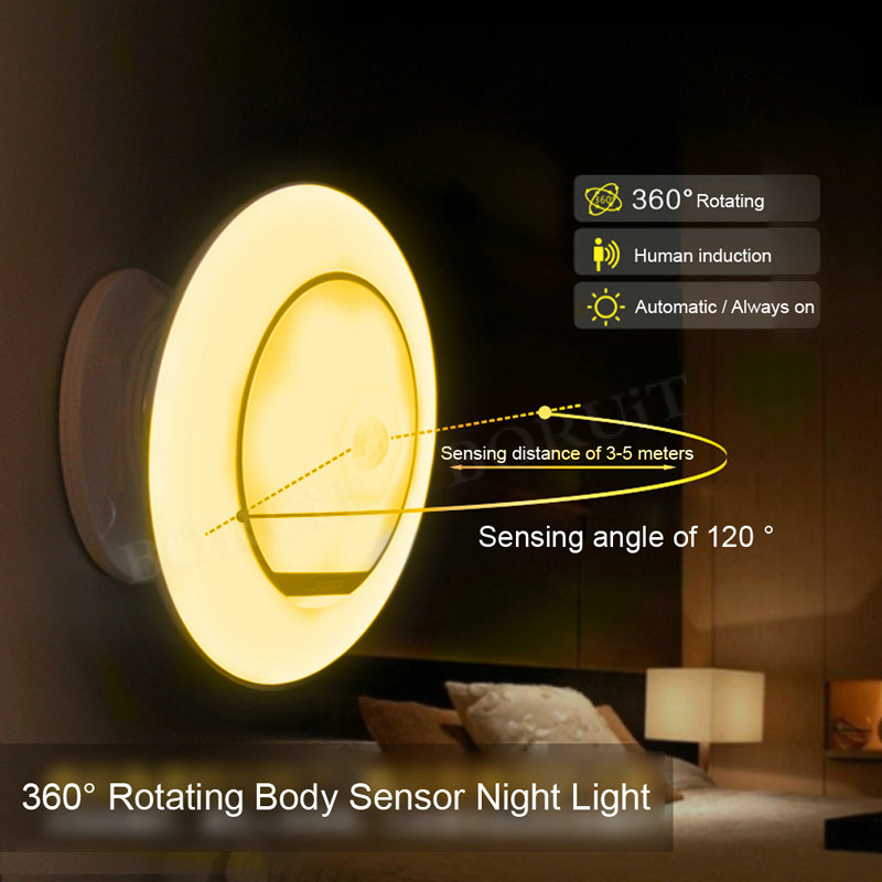 The Best Motion Sensor Nightlight Children 360 Degree Rotating Lamp With Motion Sensor Ufo Shape Lamp Battery Powered Night Light Lights & Lighting